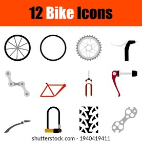 Bike Icon Set. Flat Design. Fully editable vector illustration. Text expanded.