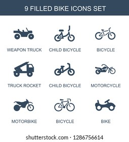 bike icons. Trendy 9 bike icons. Contain icons such as weapon truck, child bicycle, bicycle, truck rocket, motorcycle, motorbike. bike icon for web and mobile.