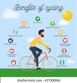 Bike infographics. Benefits of cycling. Young man in bright clothes riding bike. Stylish male on bicycle side view. Cool vector character hipster design outdoors. Bearded sportsman, flat style