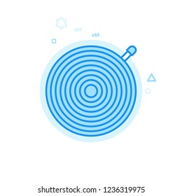 Bike Inner Tube or Tire Flat Vector Icon. Bicycle Spare Part Symbol, Pictogram, Sign. Light Flat Style. Blue Monochrome Design. Editable Stroke. Adjust Line Weight. Design with Pixel Perfection.