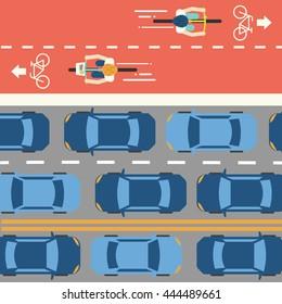 Bike lane and car traffic. Top view