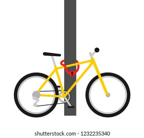 Bike lock - security and protection against  thief and robbery. Bicycle is locked to stationary mast, pole and pillar. Vector illustration