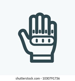 Bike and motorcyclist gloves icon, military style tactical gloves vector icon