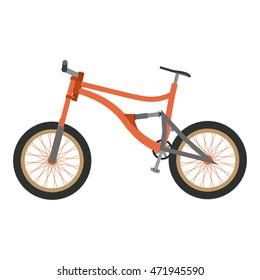 Bike mountain downhill orange vector flat icon bicycle illustration extreme urban biking
