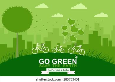 Bike on mountain. Green city. Save world concept. Vector illustration.