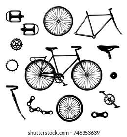 Bike parts. Bicycle equipment and components isolated vector set. chain and pedal illustration