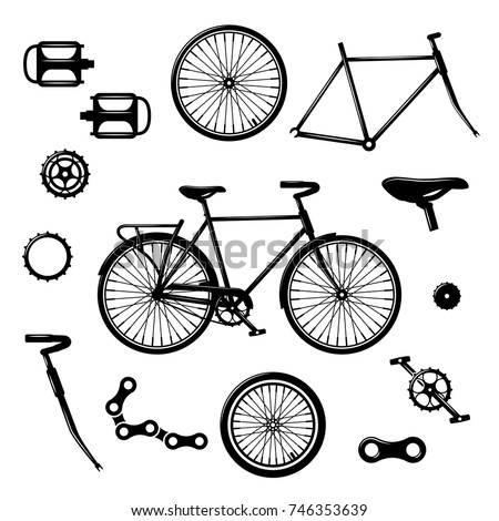 Bike Parts Bicycle Equipment Components Isolated Stock Vector