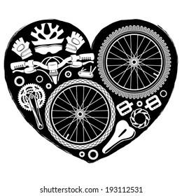 bike parts heart shape