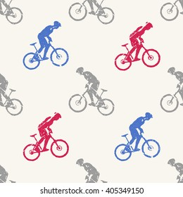 Bike pattern, bikers man illustration. Creative, luxury gradient color style image. Print label, banner, book, cover, card, clothes, emblem, wrap, wrapping. Street art scratch design
