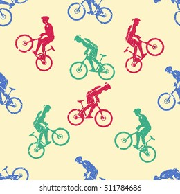 Bike pattern, Bikers Man illustration, image. Creative, luxury gradient color style image. Print label, banner, book, cover, card, clothes, emblem, wrap, wrapping. Street art scratch design