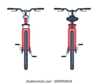 Bike with pedals and rudder front view, bicycle lumens headlamp vector illustration isolated on white background. Sportive kind of active transport