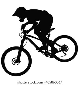 Bike race on a mountain slope - silhouette, vector