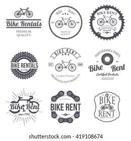 Bike rent. Set of vintage, modern and retro logo, badges and labels. Vector illustration