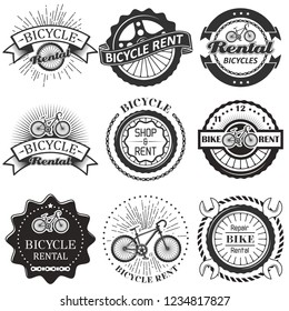 Bike rental badge label logo set. Vector monochrome illustration in retro style. Bicycle rent, shop and repair typography.