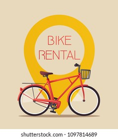 Bike rental. Bicycle sign for web or print. Cartoon vector illustration