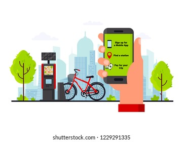 Bike rental service concept vector flat illustration. Human hand holding smartphone with bike rental app, bicycle for rent at docking station and payment terminal on city street.