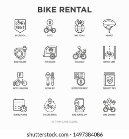 Bike rental thin line icons set: rates, bicycle tours, pet trailer, padlock, helmet, child seat, sharing, pointer, deposit, mobile app, cycling route. Modern vector illustration.