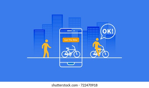 Bike renting app vector illustration. App to rent public bicycle line art graphic design. Phone application for renting bicycle creative concept.