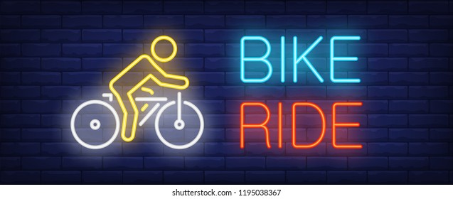 Bike ride neon text with cyclist riding bicycle. Bicycling, sport and advertisement design. Night bright neon sign, colorful billboard, light banner. Vector illustration in neon style.