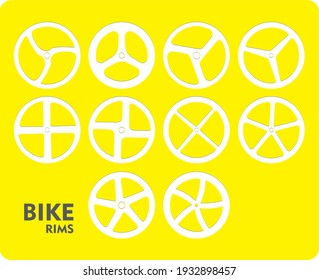 Bike rims with 3, 4, and 5 spokes