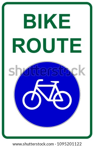 Bike Route Sign Bicycle Lane Symbol Stock Vector Royalty Free