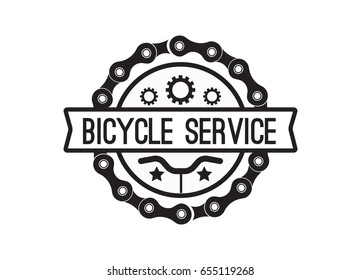 Bike service badge vintage. Sports logo sticker for print on t-shirt, retro monochrome design, shop for bicycle gear, parts and accessories. Vector flat style illustration isolated on white background