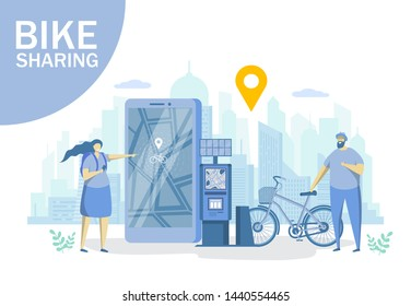 Bike sharing, vector flat style design illustration. Man and woman renting bicycles, finding docking station using mobile app. Rental bicycle service concept for web banner, website page, etc.