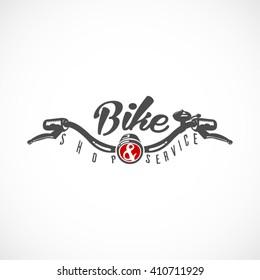 Bike shop & service  Retro label or badge design. Handlebar.