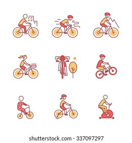 Bike types and cycling sign set. Man, woman, kids. Thin line art icons. Flat style illustrations isolated on white.
