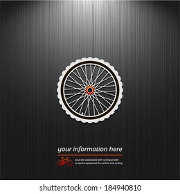 Bike Wheel, Cycling graphic symbol, icon isolated on a dark background for your design
