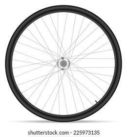Bike wheel on white background.