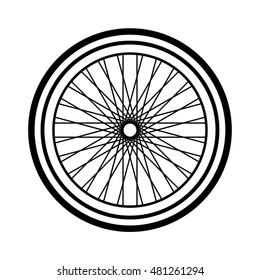 Bike wheel on white background