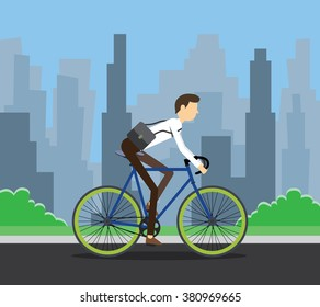 bike to work businessman employee using bike to work along the rod with city background