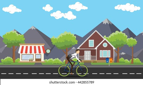 bike to work businessman ride his bicycle on the way vector graphic illustration