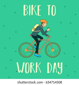 Bike to Work Day. Suitable for banner, poster, greeting card, mug, template and print advertising