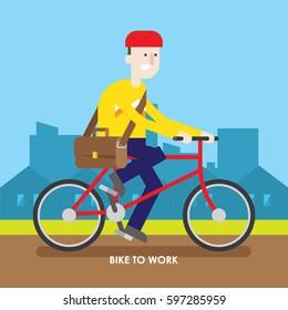Bike to work illustration.
