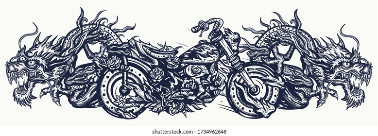 Biker art. Burning chopper motorcycle and asian dragons. Lifestyle of racers. Tattoo and t-shirt design. Cool motorbike, moto sport concept