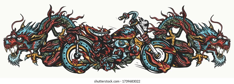 Biker art. Burning chopper motorcycle and asian dragons. Cool motorbike, moto sport concept. Lifestyle of racers. Color Tattoo and t-shirt design