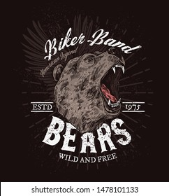 Biker club badge, roaring bear sketch t-shirt print template. Vector American legend biker band icon, wild and free grizzly bear with fangs, rocker bikers or motorbike races grunge poster