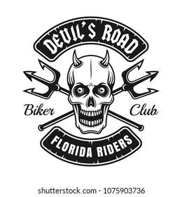 Biker club emblem or shirt print with devil skull and two crossed tridents vector illustration isolated on white background
