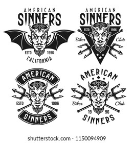 Biker club set of vector emblems, badges, labels or t shirt prints with horned devil head and text american sinners isolated on white background