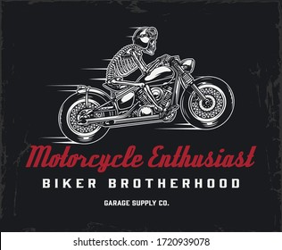 Biker club vintage label with inscriptions and skeleton motorcyclist in helmet and goggles riding motorbike isolated vector illustration