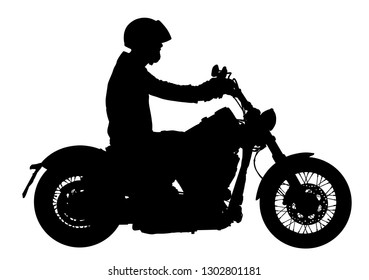 Biker driving a motorcycle rides along the asphalt road vector silhouette illustration. Freedom activity. Road travel by bike. Man on bike silhouette. Motorbike rider silhouette.