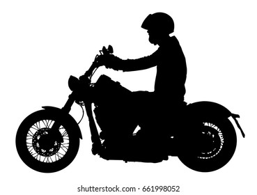 Biker driving a motorcycle rides along the asphalt road vector silhouette illustration. Freedom activity. Road travel by bike. Man on motorcycle silhouette. Boy motorbike rider. Freedom independence.