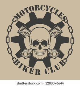 Biker emblem. Skull gear pistons color and text on the background