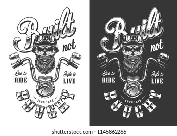 Biker emblem with skull in monochrome style. Vector illustration