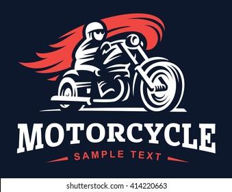 Biker, fire, motorcycle, retro emblem and label on dark background