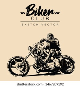 Biker on a motorcycle. Hand drawn sketch vector illustration