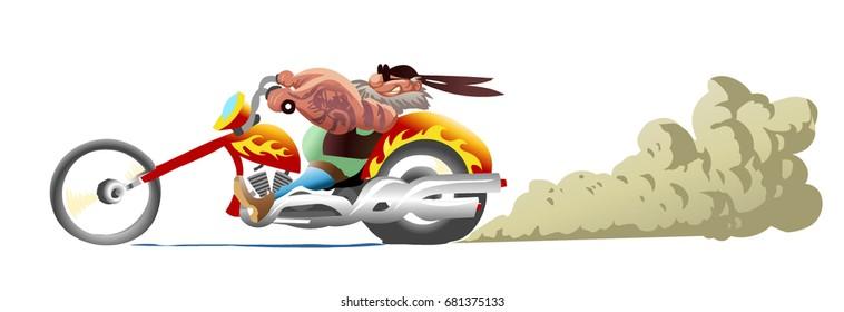 Biker on motorcycle with sunglasses and bandana. Hand drawn cartoon character.  Vector illustration