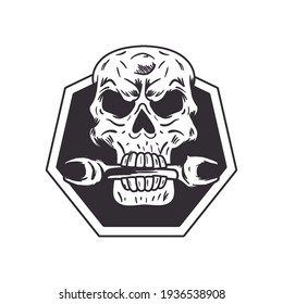 biker patch skull with wrench